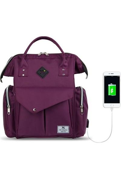 My Valice Smart Bag Happy Mom Usb Girişli Anne Bebek Bakım Ve Sırt Çantası Mor