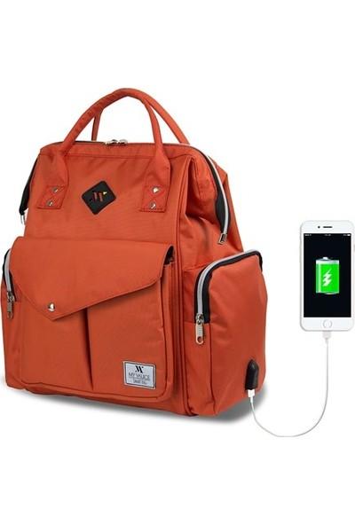 My Valice Smart Bag Happy Mom Usb Girişli Anne Bebek Bakım Ve Sırt Çantası Turuncu