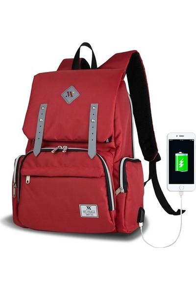 My Valice Smart Bag Mother Star Usb Girişli Anne Bebek Bakım Ve Sırt Çantası Kırmızı