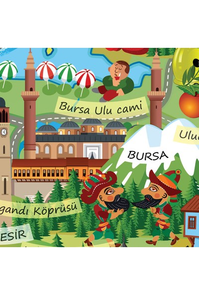 Atölye Depo Kültürel Eğitici Öğretici Turistik Türkiye Haritası Dev Boy 70X100