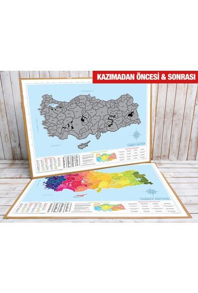 Atölye Depo Kazınabilir Türkiye Haritası İl Plakalı + Alan Kodlu Büyük Boy 50X70 Gez Kazı