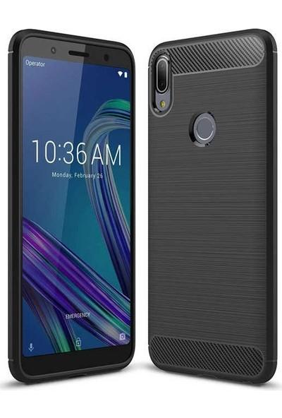 Teleplus Asus ZenFone Max Pro ZB602KL Özel Karbon ve Silikonlu Kılıf Siyah + Nano Ekran Koruyucu