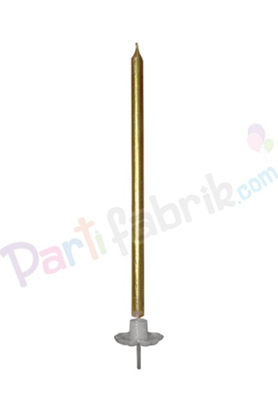 Partifabrik Gold Uzun Pasta Mumu 20 cm Tekli