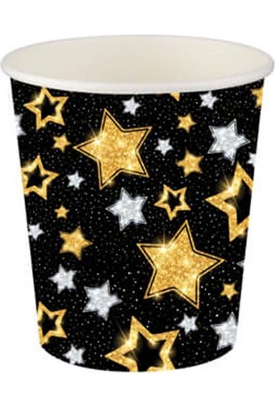 Partifabrik Gold Yıldızlar Siyah Karton Bardak