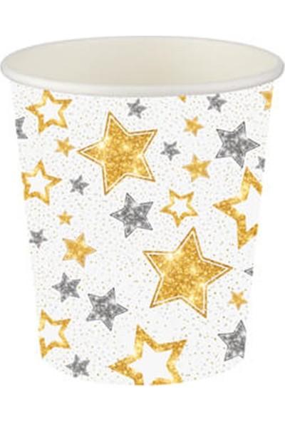 Partifabrik Gold Yıldızlar Beyaz Karton Bardak