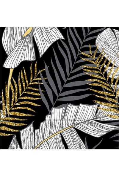 Partifabrik Floral Desenli Simli Siyah Kağıt Peçete