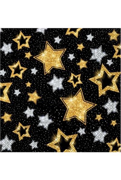 Partifabrik Gold Yıldızlar Siyah Kağıt Peçete