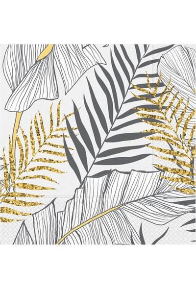 Partifabrik Floral Desenli Simli Beyaz Kağıt Peçete