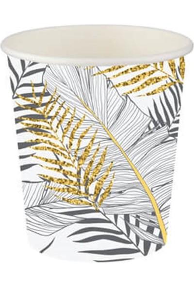 Partifabrik Floral Desenli Simli Beyaz Karton Bardak