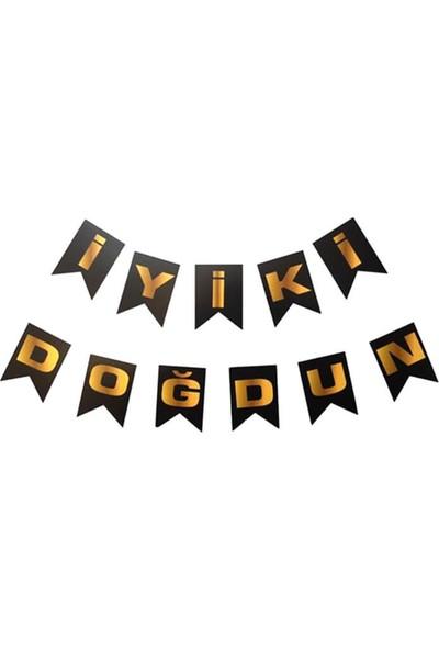 Partifabrik İyiki Doğdun Yazı Süs SiyahGold