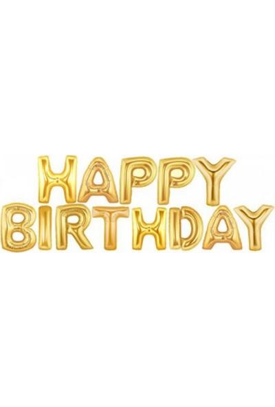 Partifabrik Happy Birthday Altın Harf Folyo Balon Set