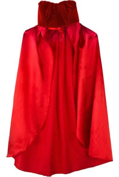 Partifabrik Halloween Yakalı Kırmızı Pelerin 90cm