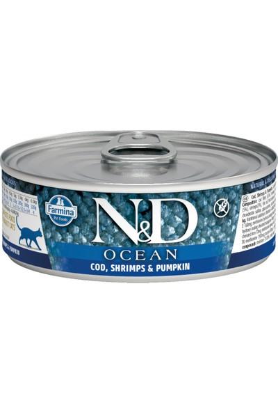N&D Ocean M.Balığı & Karides &Balkabağı Kedi Knsrv 80 gr(12 Adet)
