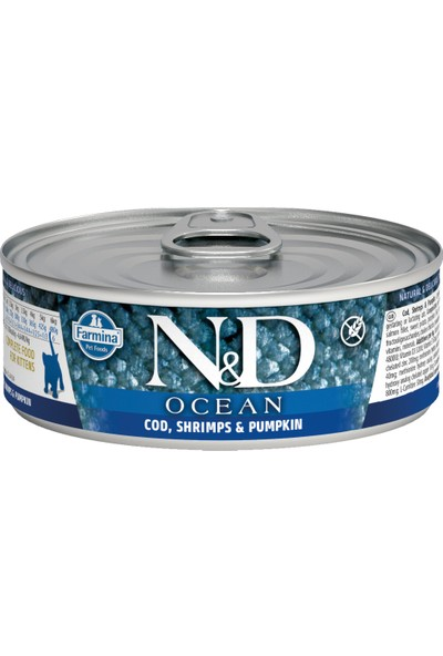 N&D Ocean M.Balığı & Karides &Balkabağı Yavru Kedi 80 gr