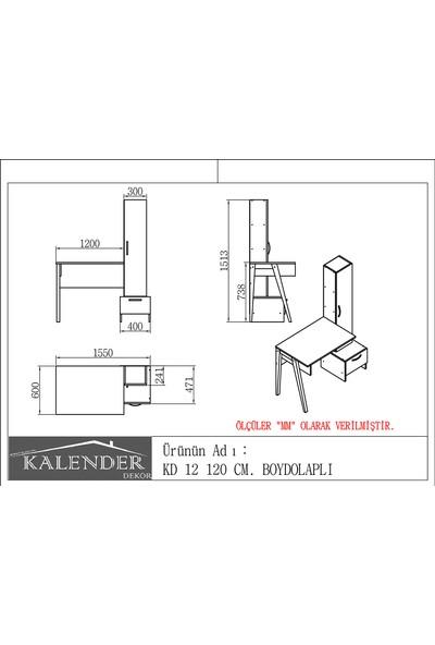 Kalender Dekor KD-12 120 cm Çalışma Masası Beyaz