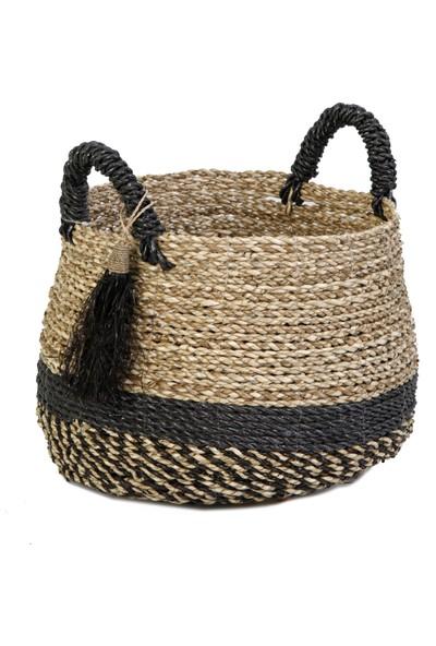 Kanca Ev Seagrass Hasır Göbekli Natürel Siyah Sepet Siyah Püsküllü Küçük