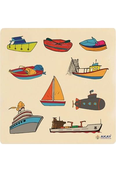 Hi-Q Toys Ahşap Tutmalı Puzzle Deniz Taşıtları