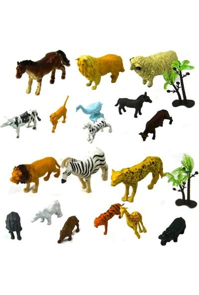 Yeşil Oyuncak Hayvanlar 20 Parça Hayvan Seti Çiftlik Ve Vahşi Hayvanlar