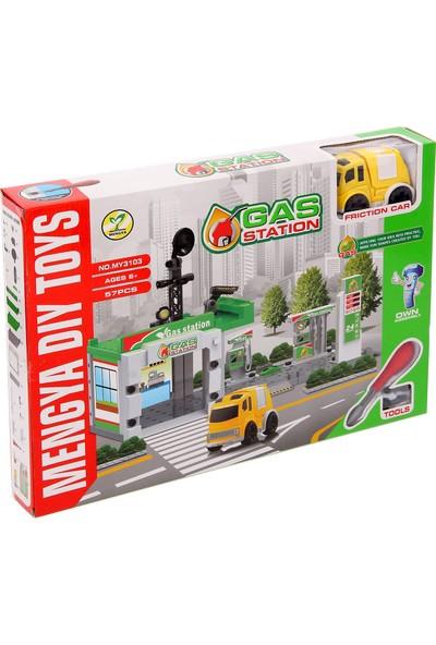 Dıy Toy Yeni Nesil 57 Parça Pilli Sesli Benzin İstasyonu Seti Lego Yapılandırma Seti (1 Araba)