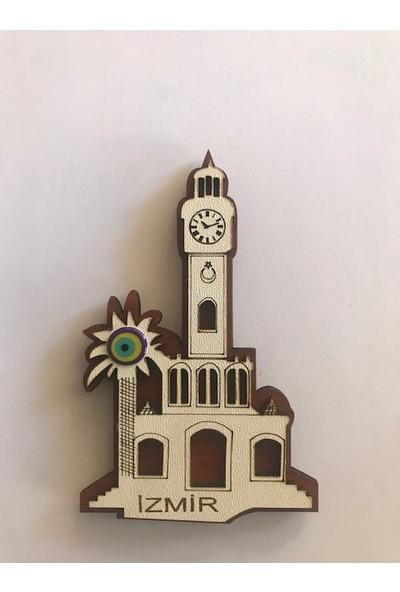 Ahşap İzmir Saat Kulesi Buzdolabı Süsü Magnet