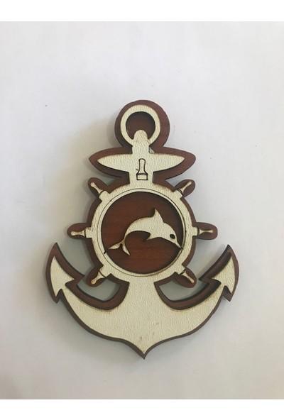 Ahşap Deniz Çapa Yunus Buzdolabı Süsü Magnet