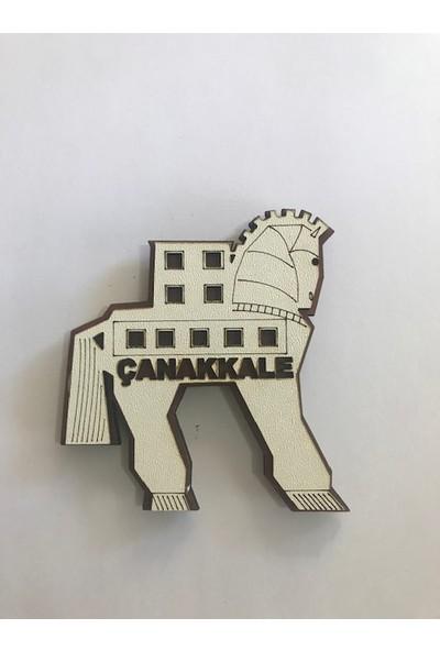 Ahşap Çanakkale Truva Atı Buzdolabı Süsü Magnet