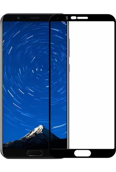 Microcase Huawei Honor View 10 Tam Kaplama Çerçeveli Tempered Cam