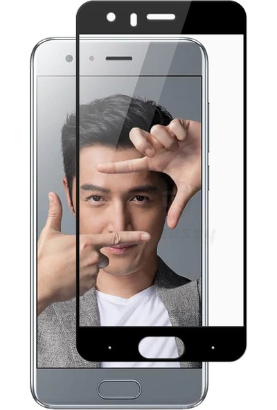 Microcase Huawei Honor 9 Tam Kaplama Çerçeveli Tempered Cam