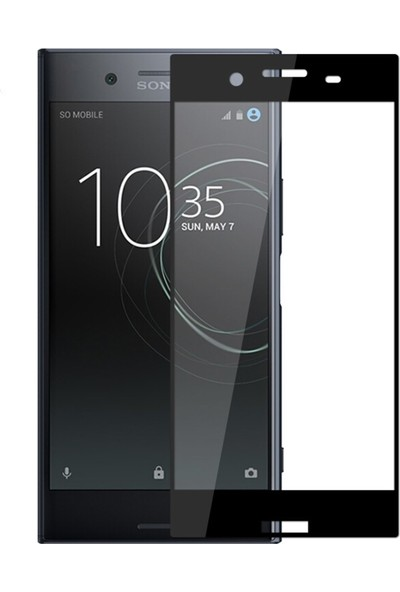 Microcase Sony Xperia XZ1 Compact Tam Kaplama Çerçeveli Tempered Cam