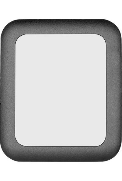 Microcase Apple Watch 42 mm Seri 1 2 3 Metal 3D Çerçeveli Tempered Glass Cam