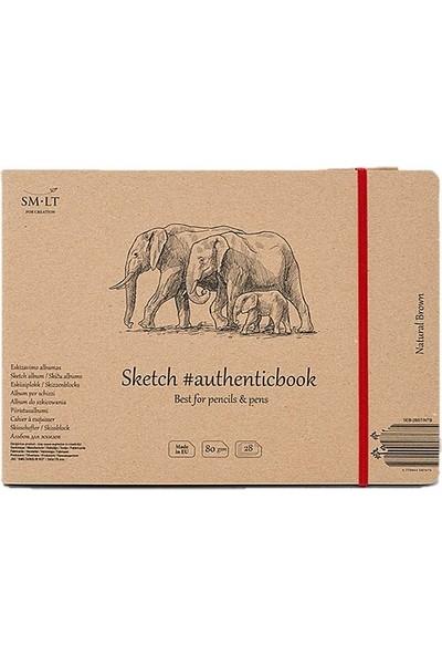 Sm.Lt Stitched Sketch Album Brown 24,5X18,1 28Yp 135Gr.