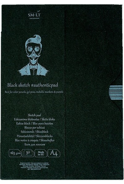 Sm.Lt Sketch Pads Authentic Black A4 30Yp 165Gr