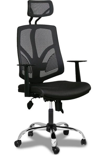 Büromotto Jobb Ofis , Yönetici ve Müdür Koltuğu, Fileli Ofis Sandalyesi - Siyah