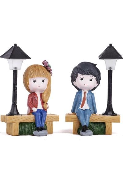 Mukko Home lambalı Genç Çift Biblo Set / Okuma lambası 16 cm