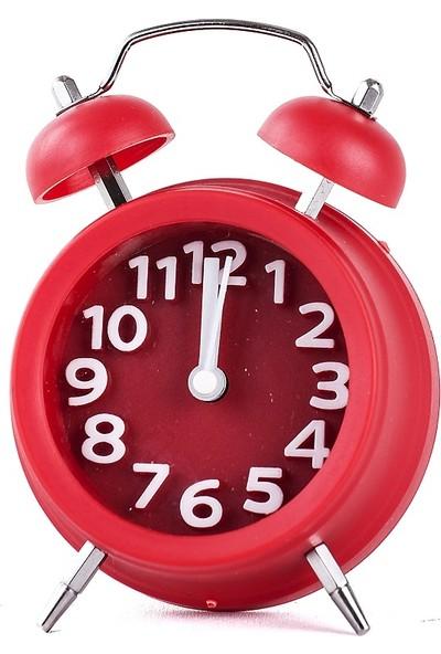 Mukko Home Çalar Saat Kırmızı 9 cm / Alarmlı Masaüstü Saat