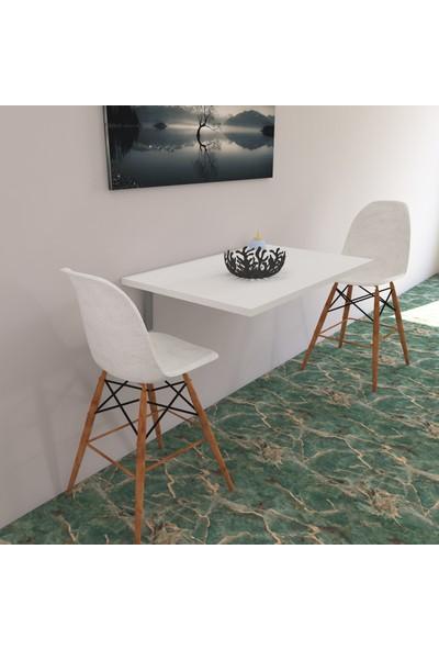 Nur Mobilya Katlanır Mutfak Masası Çalışma Masası Beyaz