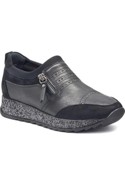 Forelli 29101 Kadın Siyah Deri Comfort Ayakkabı