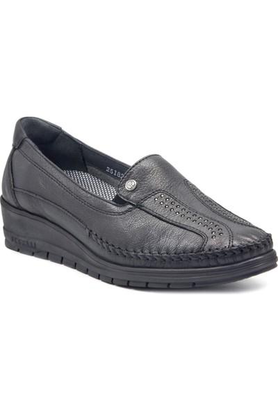 Forelli 25182 Kadın Siyah Deri Halluks Comfort Ayakkabı