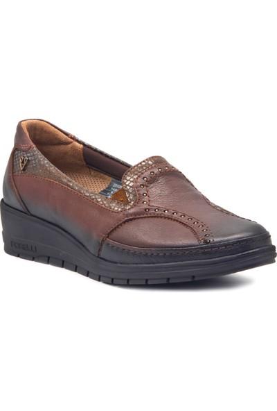 Forelli 25109 Kadın Taba Deri Halluks Comfort Ayakkabı