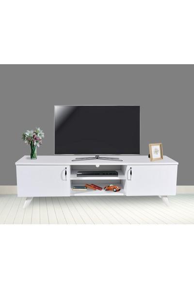 PlatinReyon Beyaz Tv Ünitesi Oturma Odası Televizyon Sehpası