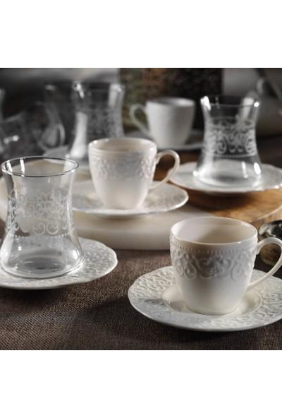 Kütahya Bone Irem 18 Parça Çay Kahve Seti