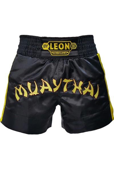 Leon Classic Nakışlı Muay Thai ve Kick Boks Antrenman Şortu Siyah BYL1008