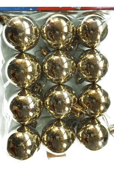 Happy Land Yeniyıl Noel Yılbaşı Çam Ağacı Gold 12 Li Top 4 Cm