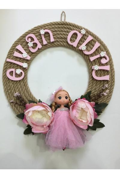 Atelier Es Kız Bebek Odası Çocuk Odası Kapı Süsü Hasır İp Tasarımı Kapı Süsü