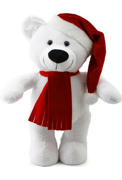 Neco Plush Yılbaşı Özel Noel Ayı 55 cm Beyaz