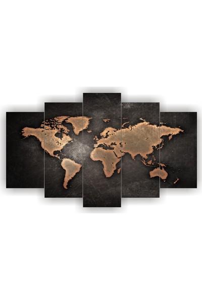 7Renk Dekor Dünya Haritası Dekoratif 5 Parça Mdf Tablo