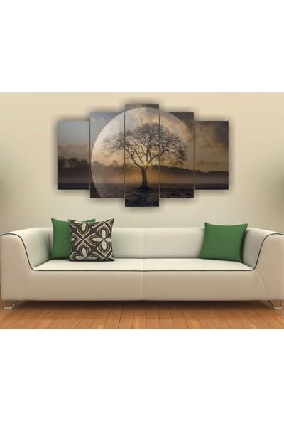 7Renk Dekor Günbatımı Ay Ve Ağaç Dekoratif 5 Parça Mdf Tablo