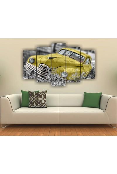 7Renk Dekor Sarı Klasik Araba Dekoratif 5 Parça Mdf Tablo