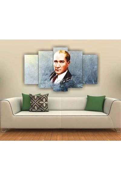 7Renk Dekor Atatürk Temalı Dekoratif 5 Parça Mdf Tablo