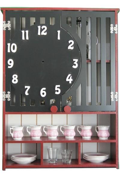 Ahşap Kapısı Ahşap Saat Desenli Raf